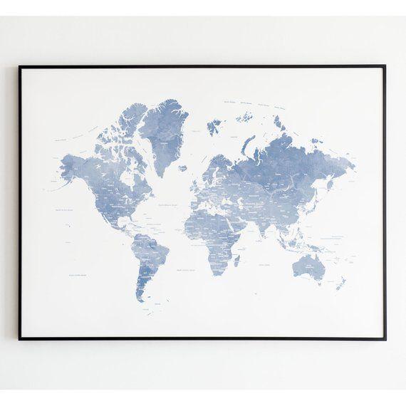 Blue World Map, Light Blue World Map Poster, Blue World Map ...