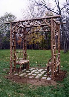 Rustic Sitting Shelters | Covered Garden Benches | Log Sitting Pavilions - For Sale