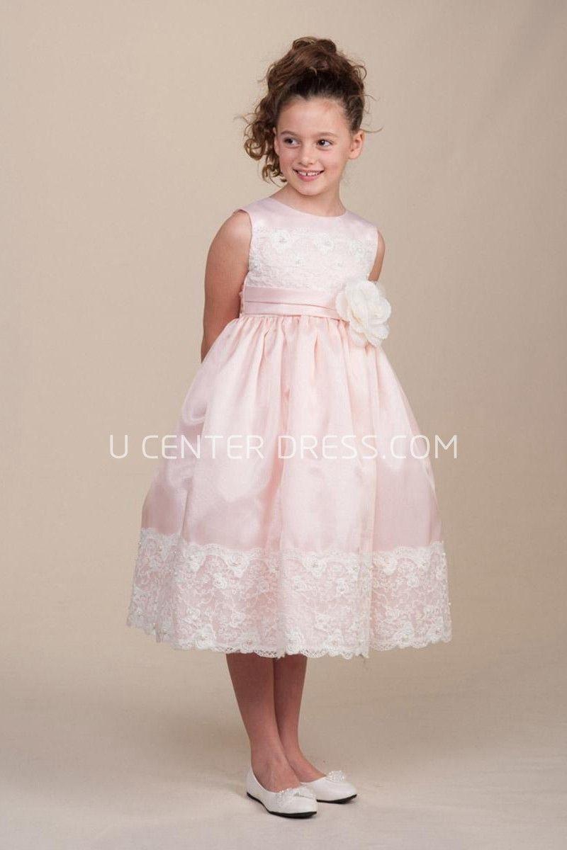 c08531d529b Tea-Length Floral Pleated Lace Satin Flower Girl Dress With Sash A 77.51