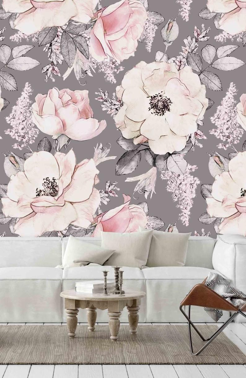 Pink Floral Illustration on Gray Background Wall Covering