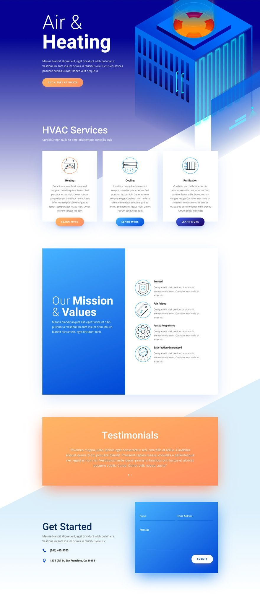 The Hvac Divi Layout Pack Will Definitely Promote Any Hvac Company With Style The Clean And Bold De In 2020 Web Design Creative Wordpress Themes Simple Website Design