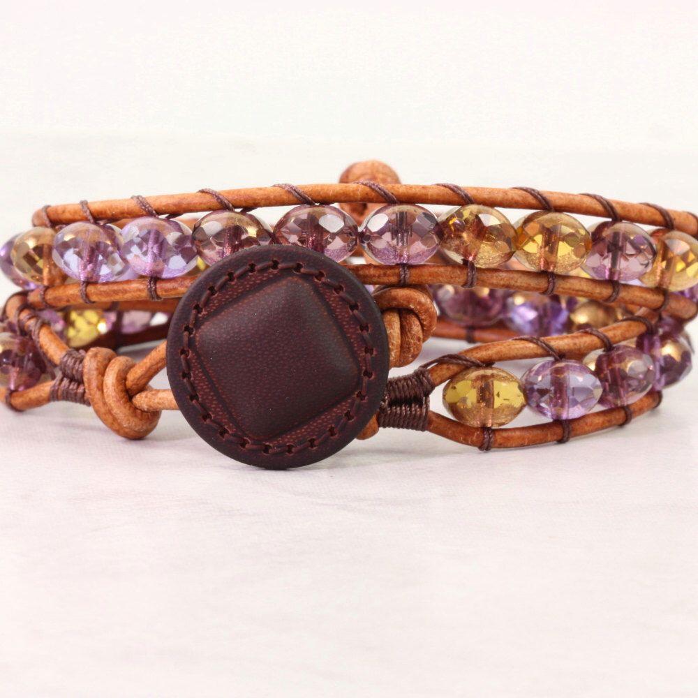 Amethyst Wrap Bracelet Purple Jewelry Natural Leather Bracelet Gold Hippie Bracelet Bohemian Jewelry Boho Chic Jewelry Summer Fashion by AbacusBeadCreations on Etsy https://www.etsy.com/listing/271588567/amethyst-wrap-bracelet-purple-jewelry
