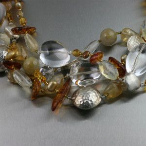 Amber Citrine Crystal Quartz Beaded Gemstone Necklace - Closeup