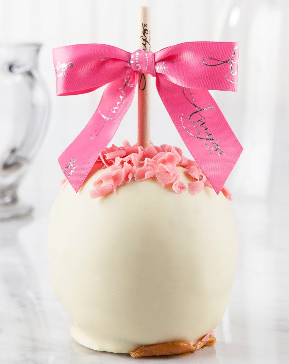 An elegant Valentine treat! Our Pink Curls Caramel Apple w/Belgian ...