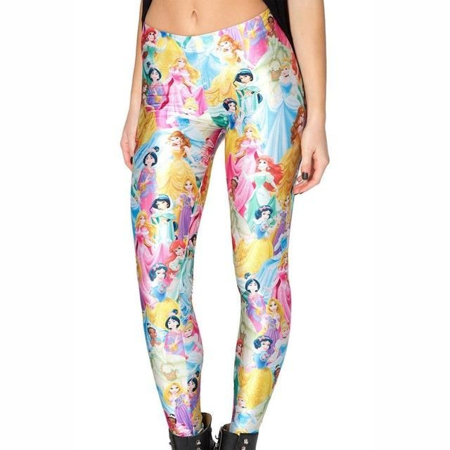 66c77a1b674a6 New 3290 Sexy Girl Slim Ninth Pants Under The Sea Mermaid princess Printed  Stretch Workout Fitness Women Leggings Plus Size