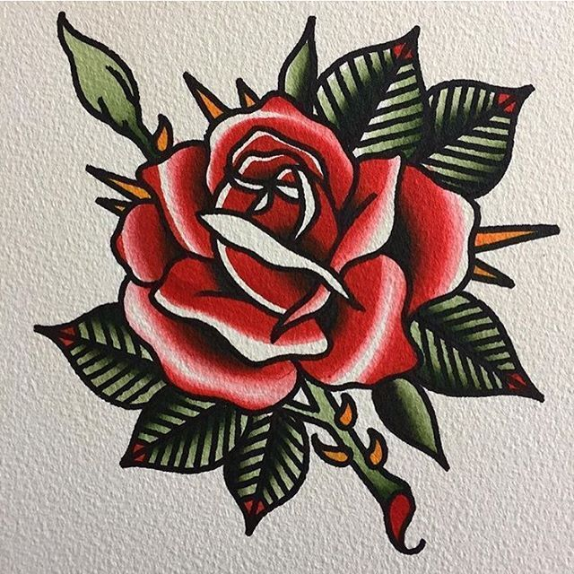 Photo of Traditional rose tattoo