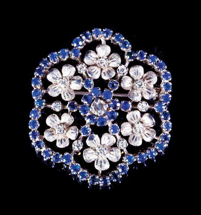 White Gold, Diamond and Sapphire Pin