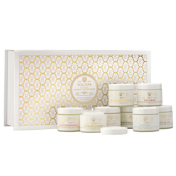 Voluspa Maison Blanc - 8 Candle Gift Set - like the front pattern - cuisine rouge et blanc photos