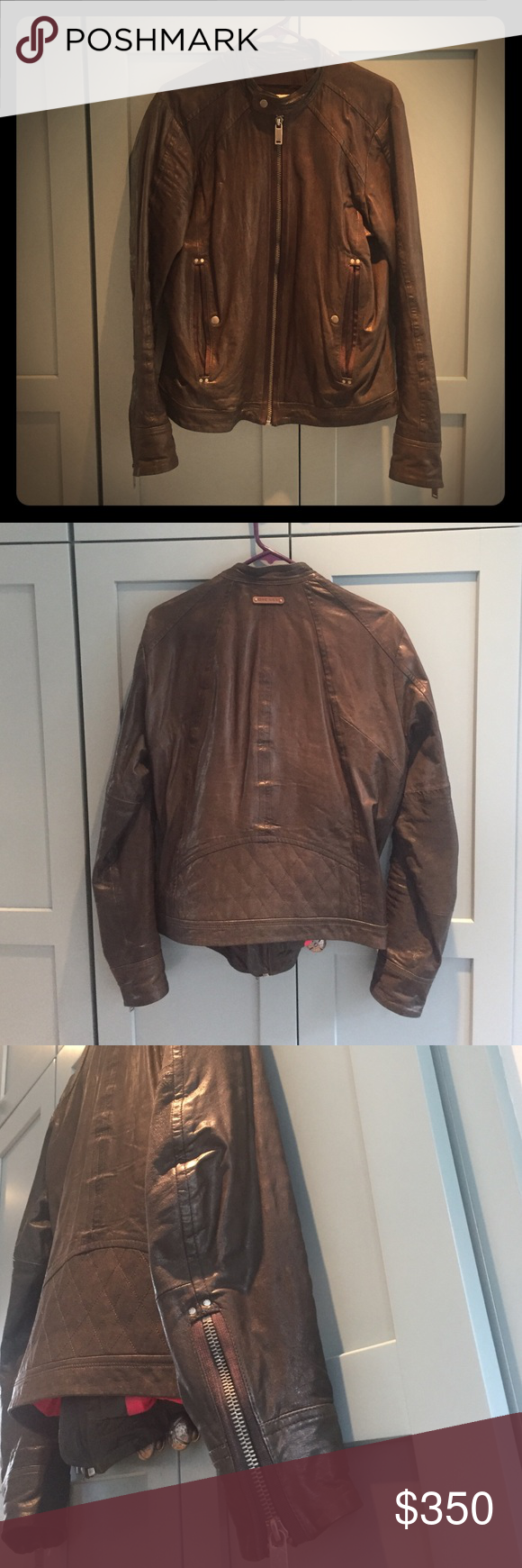 Men's Diesel Leather Moto Jacket Men's Diesel Leather Jacket. Charcoal. Great condition. Soft leather. Zippers on sleeves. Diesel Jackets & Coats