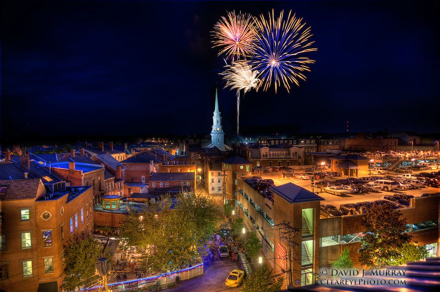 Fireworks over Portsmouth, NH. July 3, 2012. The steeple