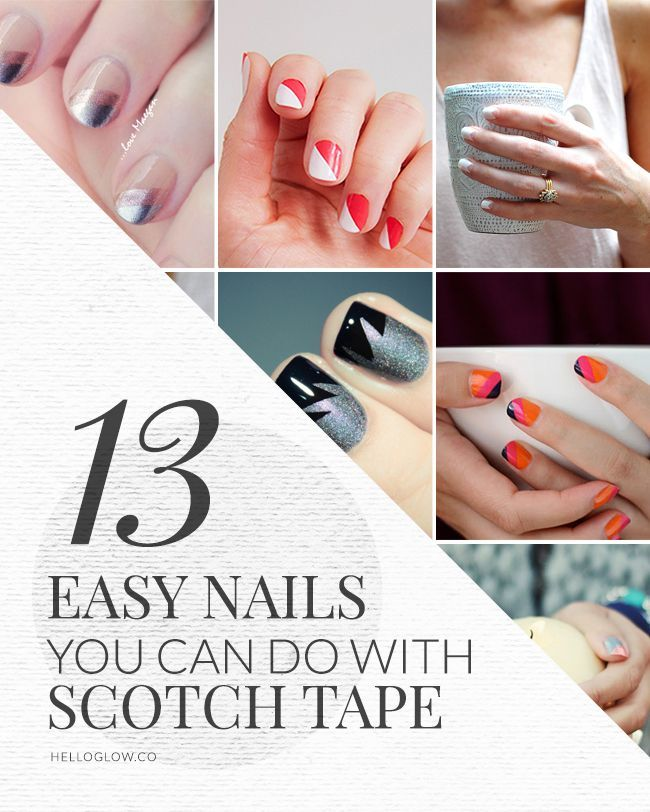 Astounding Diy Nail Art Designs Using Scotch Tape: Explosion Nail Art Design Tape Manicure Tutorial
