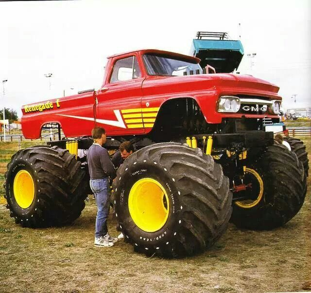 Monster Red Gmc Lifted Truck Yellow Detailed Wheels With Images