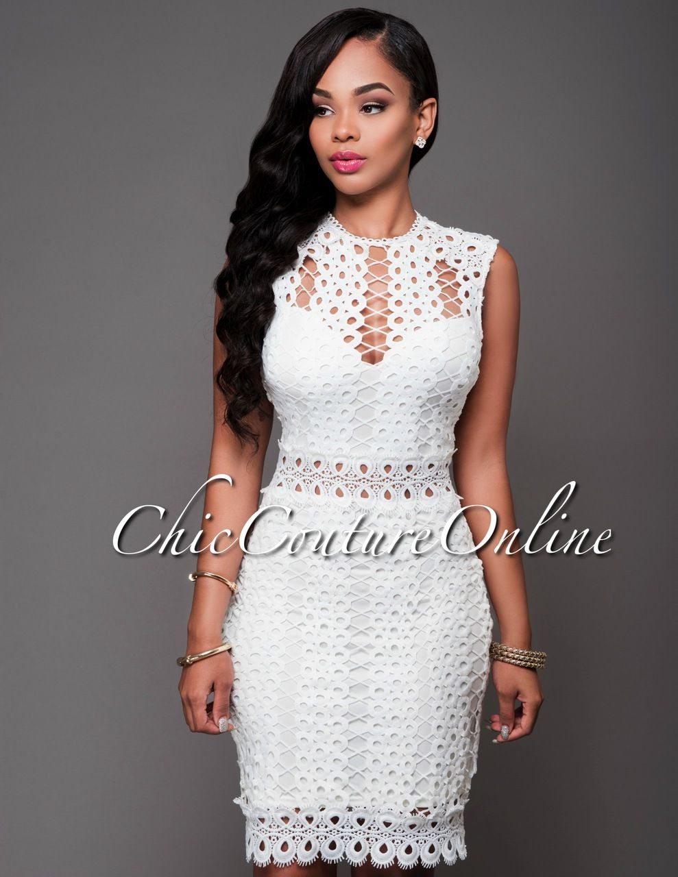 Chic Couture Online - Adelais Off-White Eyelet Dress.(http://www ...