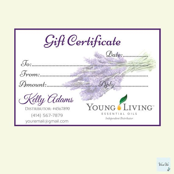 Young Living Business Card Template: Young Living Gift Certificate, Essential Oils Gift Cards