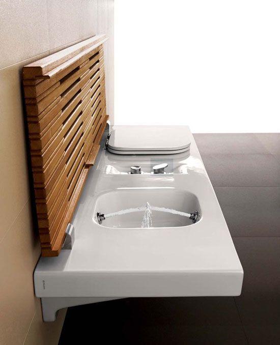 Elegante Toilette Bidet Holzdeckel Modernes Badezimmer