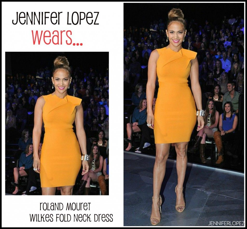 337f256ce310 jlo+american+idol | orange dress | Dresses, Fashion, Marigold dress