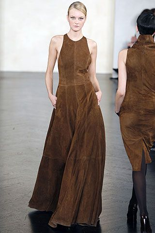 Image result for brown suede gown