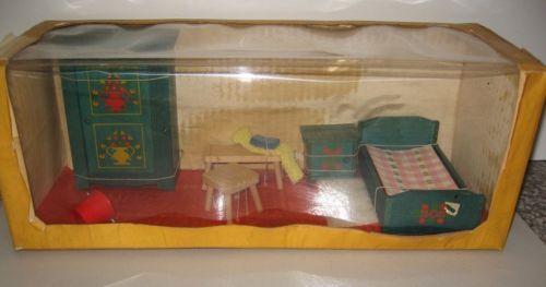 Puppenstuben-Moebel-Bauern-Schlafzimmer-Bett-Nachttisch-Schrank-in - schrank für schlafzimmer