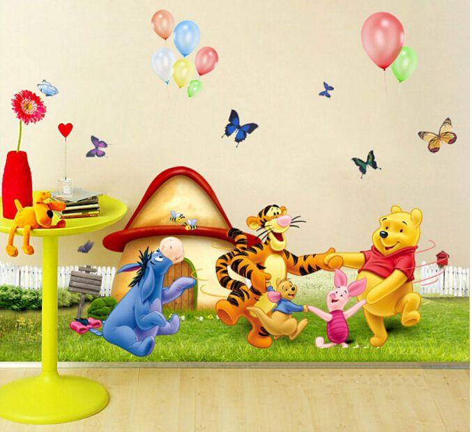 Animaux zoo Cartoon Winnie Pooh Maison Chambre Décalques Autocollants Muraux Pour Enfants Chambres