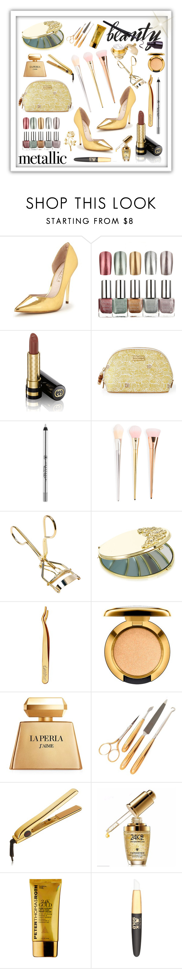 """#metallicmakeup"" by edin-levic ❤ liked on Polyvore featuring beauty, Office, Gucci, Lilly Pulitzer, Anastasia Beverly Hills, Monsoon, tarte, La Perla, Gorham and Peter Thomas Roth"