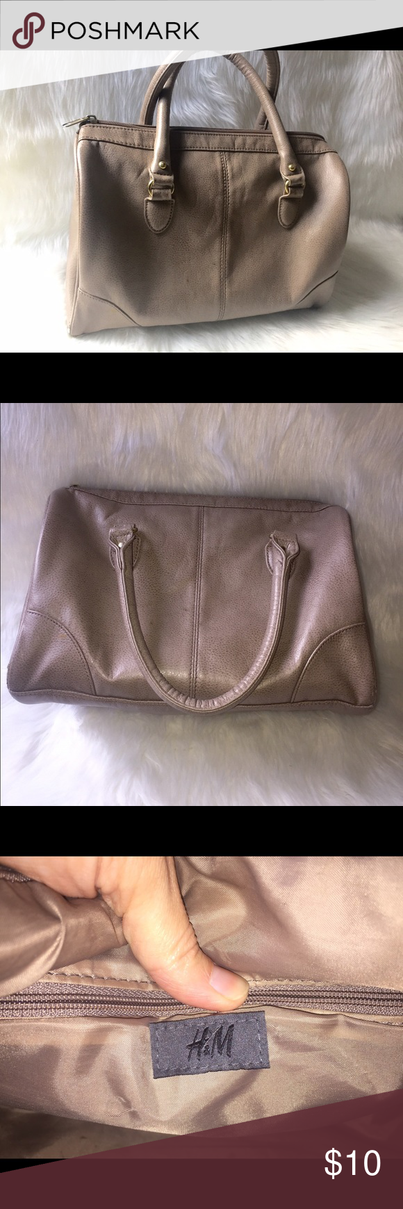 H&M hand bag Cute, clean and stylish. This taupe colored hand bag is versatile, easy to match with almost anything! Features a zippered pocket and 2 slit pockets inside. Plenty of room for carrying all your essentials for daily life. No snags or rips, very clean and could be mistaken for brand new! H&M Bags