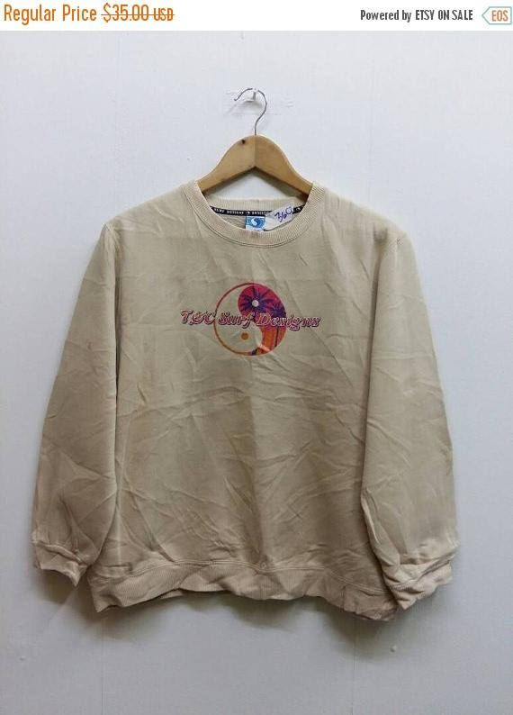 T C Surf Design 90 s Surfing Sweater Women Large Vintage  2f4d5a5263c
