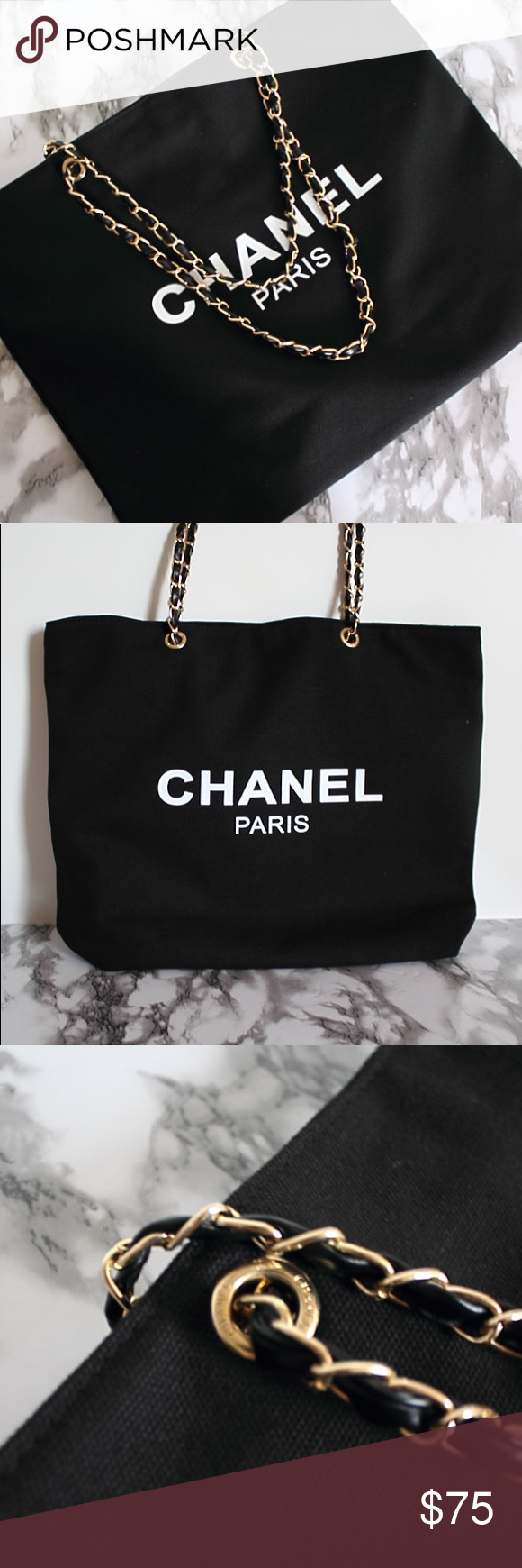fe6871655985 Auth Chanel Vip Gift Canvas Leather Chain Tote Bag Authentic Chanel Paris  beauty vip gift,