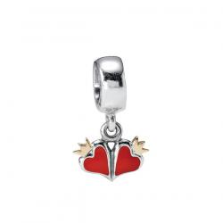 Pendant Pandora Bicolore-Coeurs Émail Rouges-€41.99