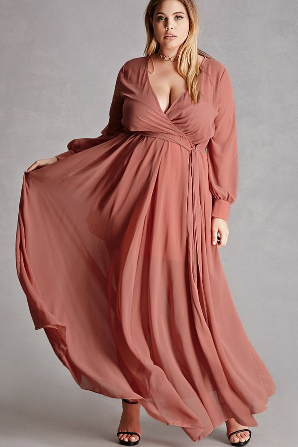 Plus Size Surplice Maxi Dress Plus Size Fashion Plus