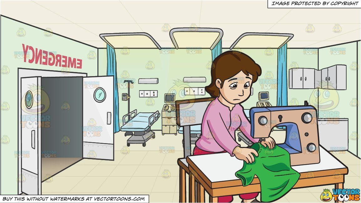 clipart cartoon A Female Worker Sewing A Shirt