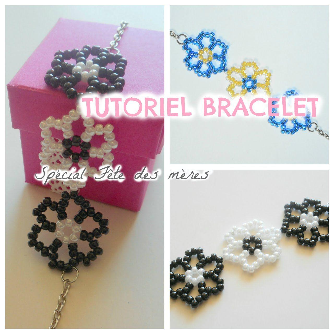 bracelet perle de rocaille fleur