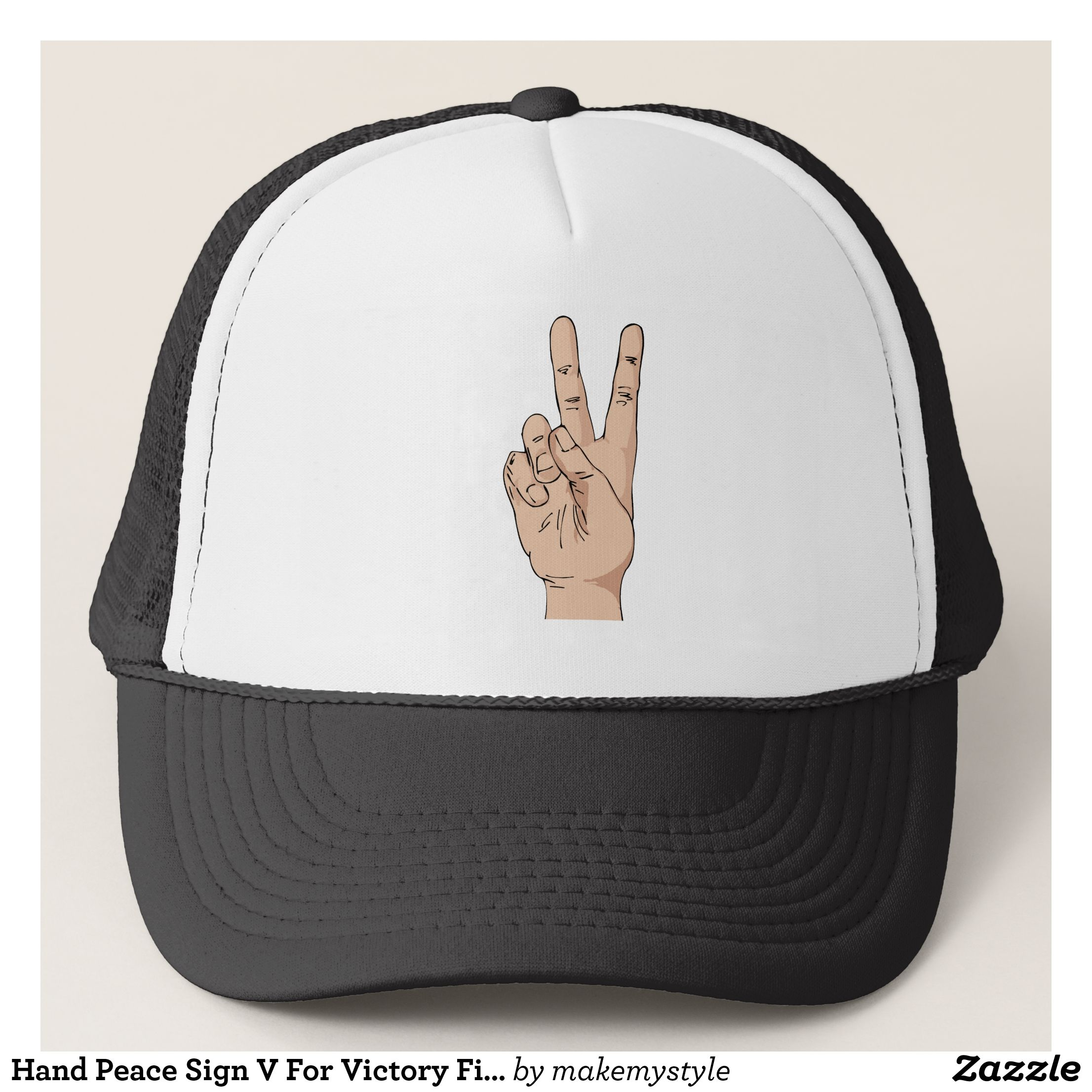 Hand Peace Sign V For Victory Fingers Anatomy Trucker Hat | Trucker hats