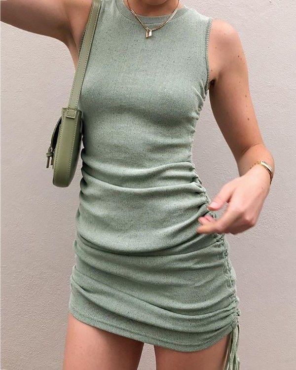 Solid Round Neck Sleeveless Drawstring Dress