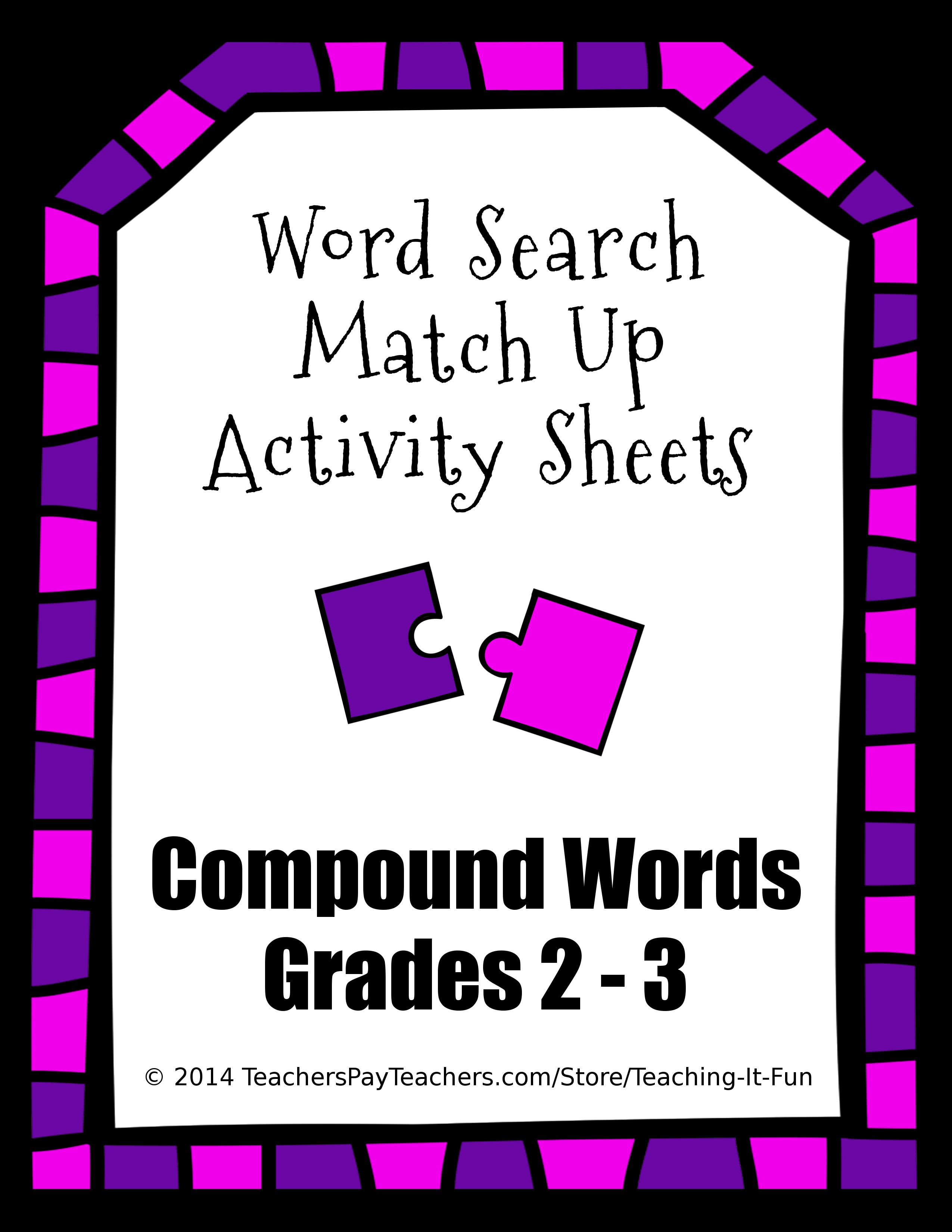 Word Search Match Up Activity Sheets Compound Words For