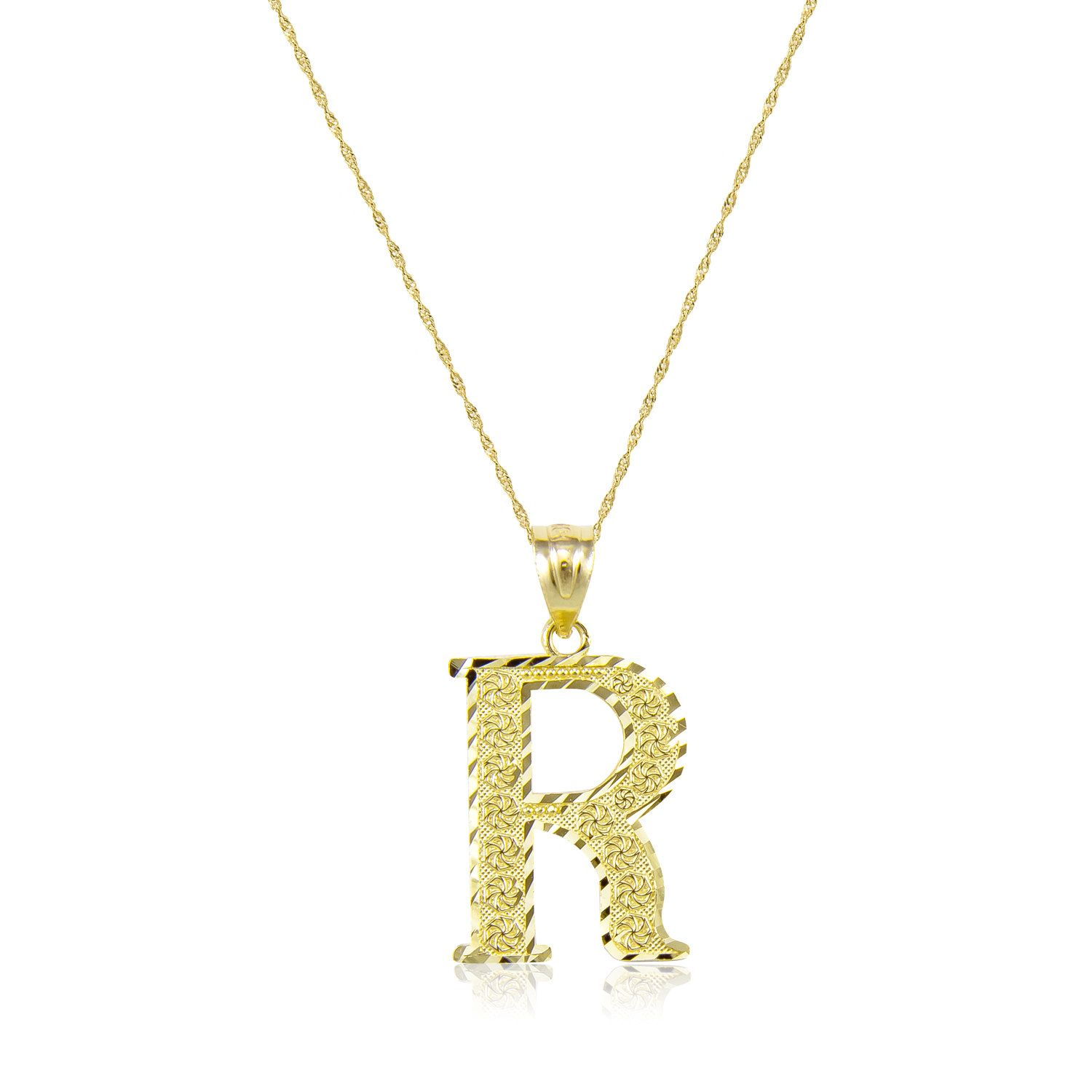 10k Solid Yellow Gold Initial Letter Necklace Pendant Singapore Chain Description Material Genuine 10k Letter Pendants Gold Initial Yellow Gold Pendants