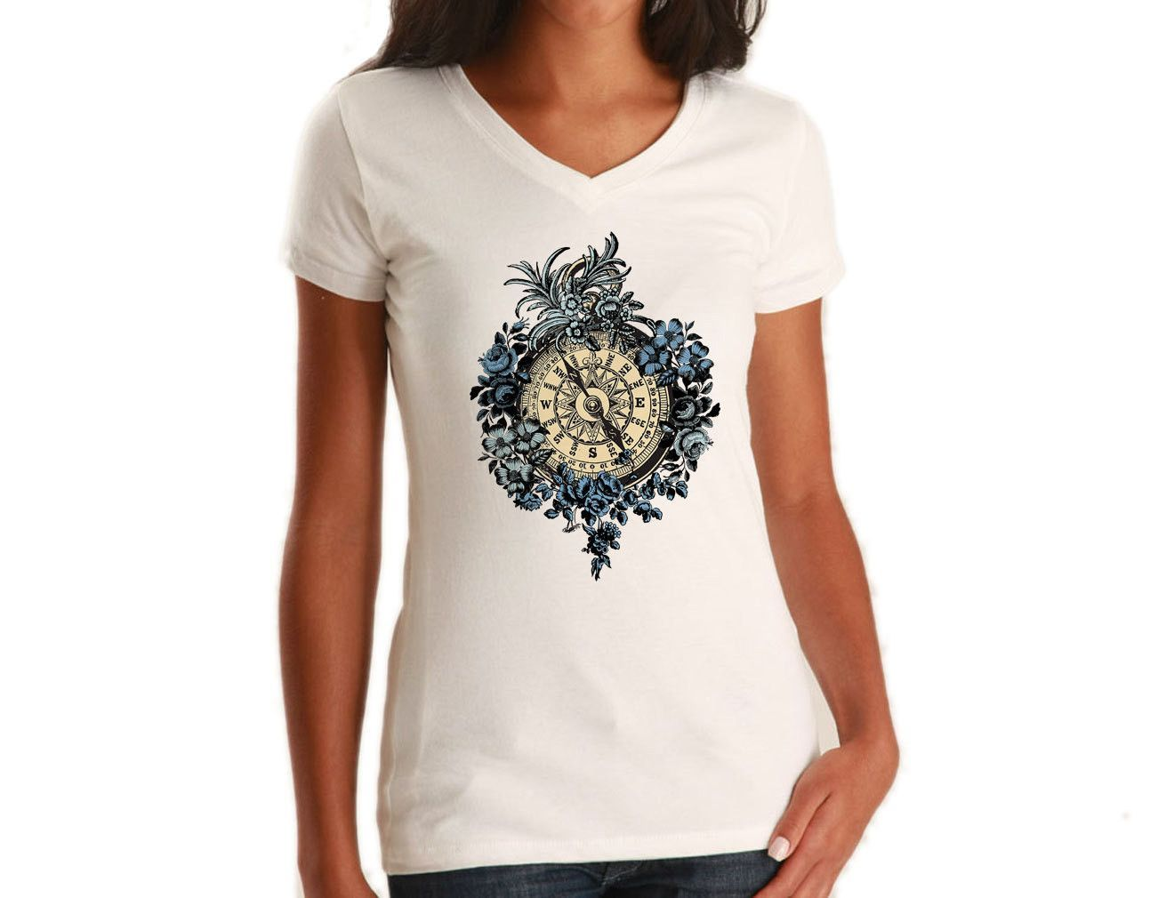 Women's Vintage Floral Compass Vneck T-Shirt - Juniors Fit Feminine Tattoo Inspired
