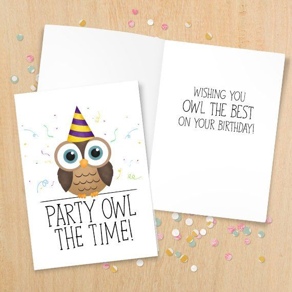 Party Owl The Time - Digital 5x7 Printable Folded Card - Size When