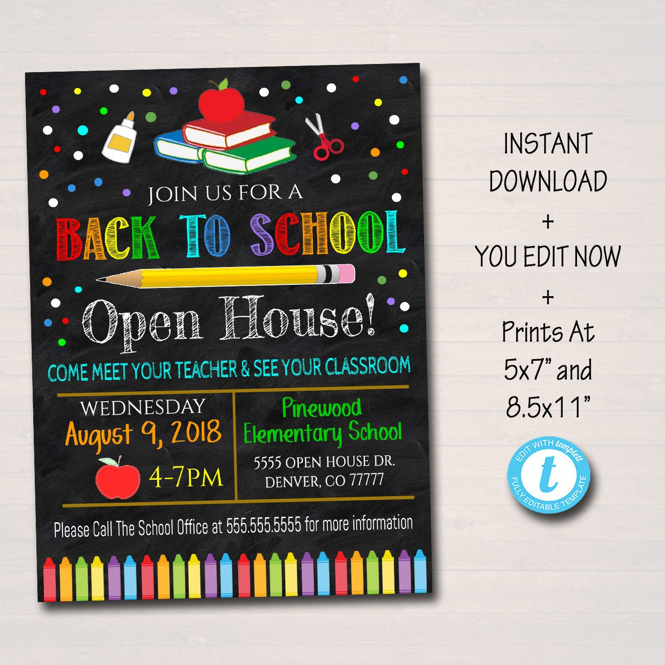 Editable School Open House Flyer Printable Pta Pto Flyer Etsy School Open House School Opening School Fundraisers
