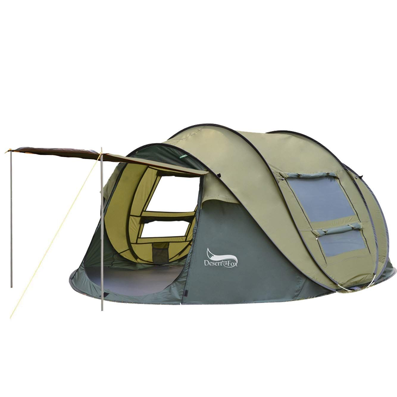 Desert And Fox 3 4 Person Pop Up Tent Automatic Instant Setup Family Tents Sun Shelter For Beach Camping Hiking To View Fur Tent Family Tent Pop Up Tent