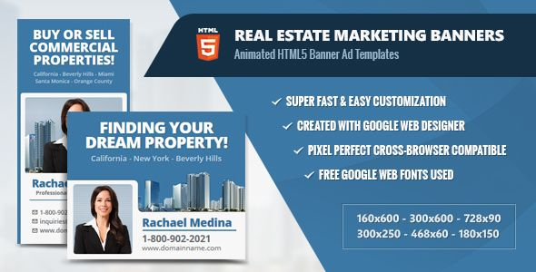 Download Free Real Estate Marketing Banners - HTML5 Animated Ads - For Sale Ad Template