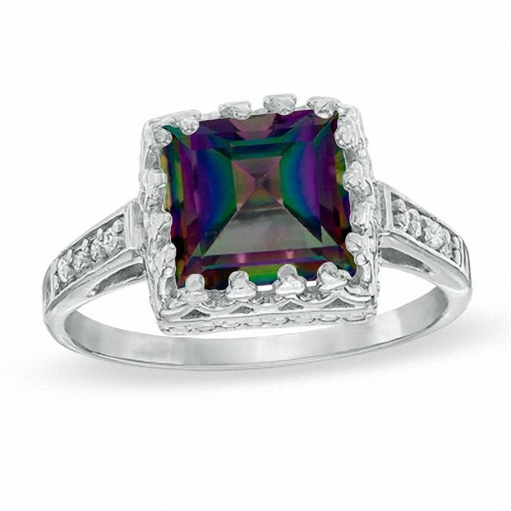 Zales 8.0mm Rainbow Blue Quartz and White Topaz Crown Ring in Sterling Silver RZ2thg75W