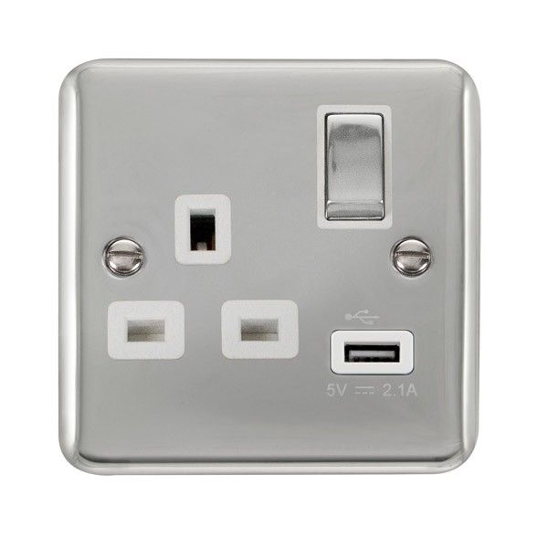 Click Deco Plus Polished Chrome 1 Gang 13a Ingot Switched Socket With Usb Outlet And White Insert Sockets Usb Usb Outlet
