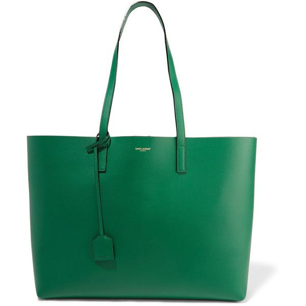 Saint Laurent Shopping large leather tote (¥77,185) ❤ liked on Polyvore featuring bags, handbags, tote bags, man bag, leather tote handbags, green leather purse, leather man bags and green leather tote bag