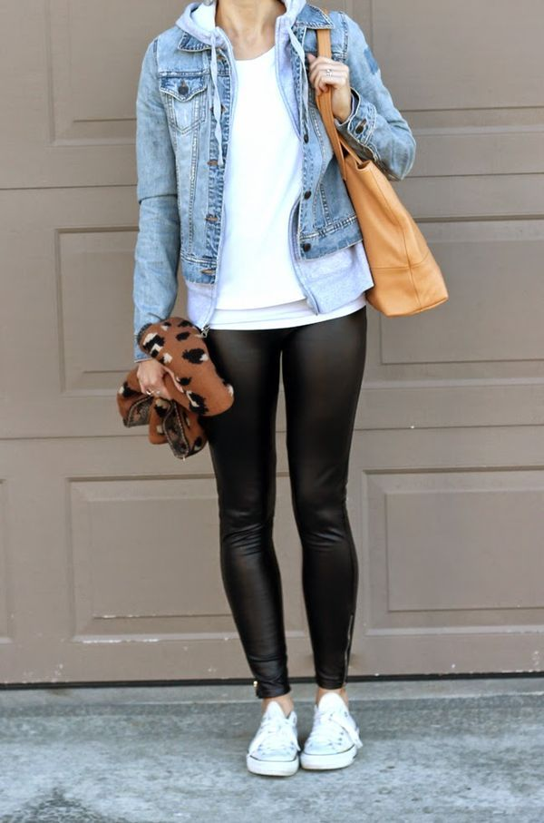Denim Jacket Over A Hoodie Leather Leggings Everyday Style In