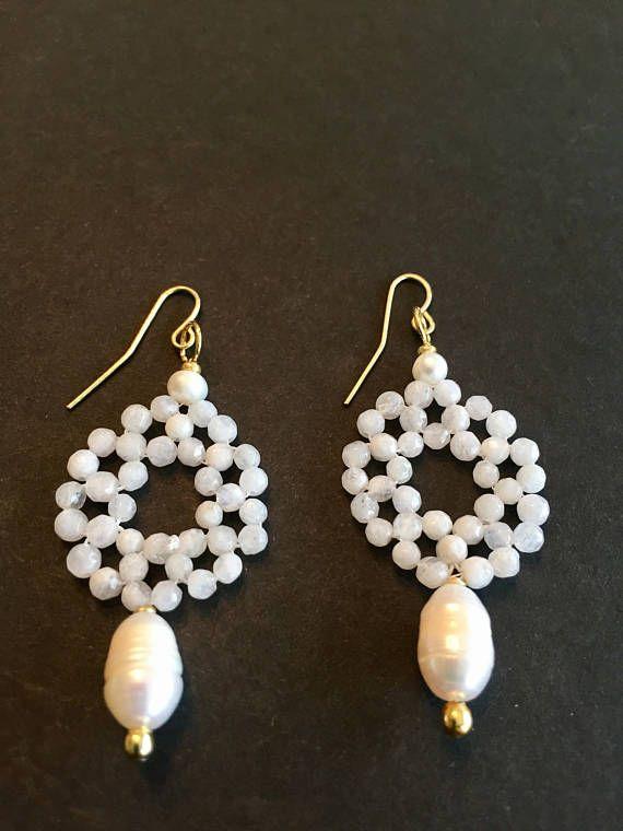 Semi Precious Moonstone and Pearl Chandelier Earrings Bridal ...