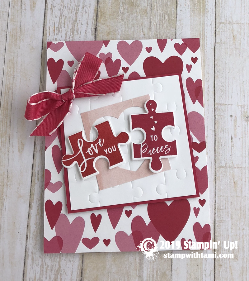 card love you to pieces valentine's day puzzle card in