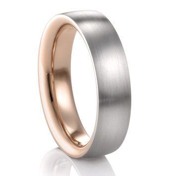 6MM Red Gold & Palladium Flat Wedding Band – COGE – Palladium Rings