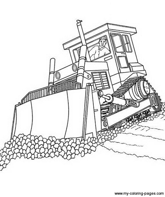Coloring Pages Construction Truck Free Bulldozer Page | Car | Pinterest