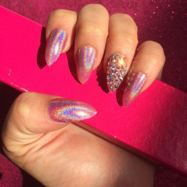 Luxury Hand Painted False Nails Stiletto Holographic Pink 24 Nail Set