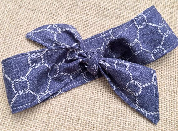 M2M Made to Match Well Dressed Wolf Silk and Chambray Lucy Tunic Set, Cotton Fabric Headband, Headwrap on Etsy, $16.95